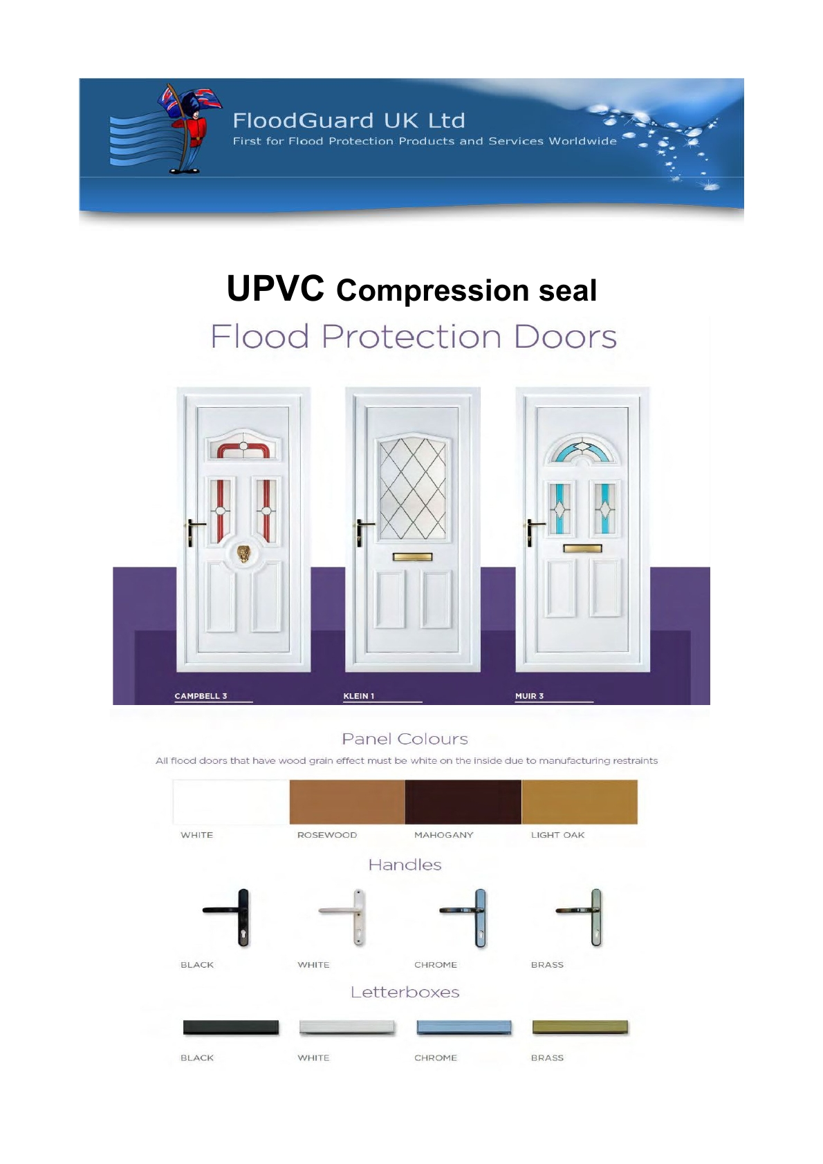 UPVC compression seal doors for flood protection across the UK from Flood Guard.
